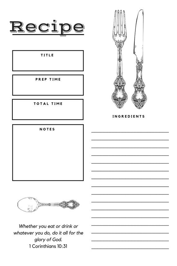 Recipe Page Recipe Card Printable Editable Full Page 85 x