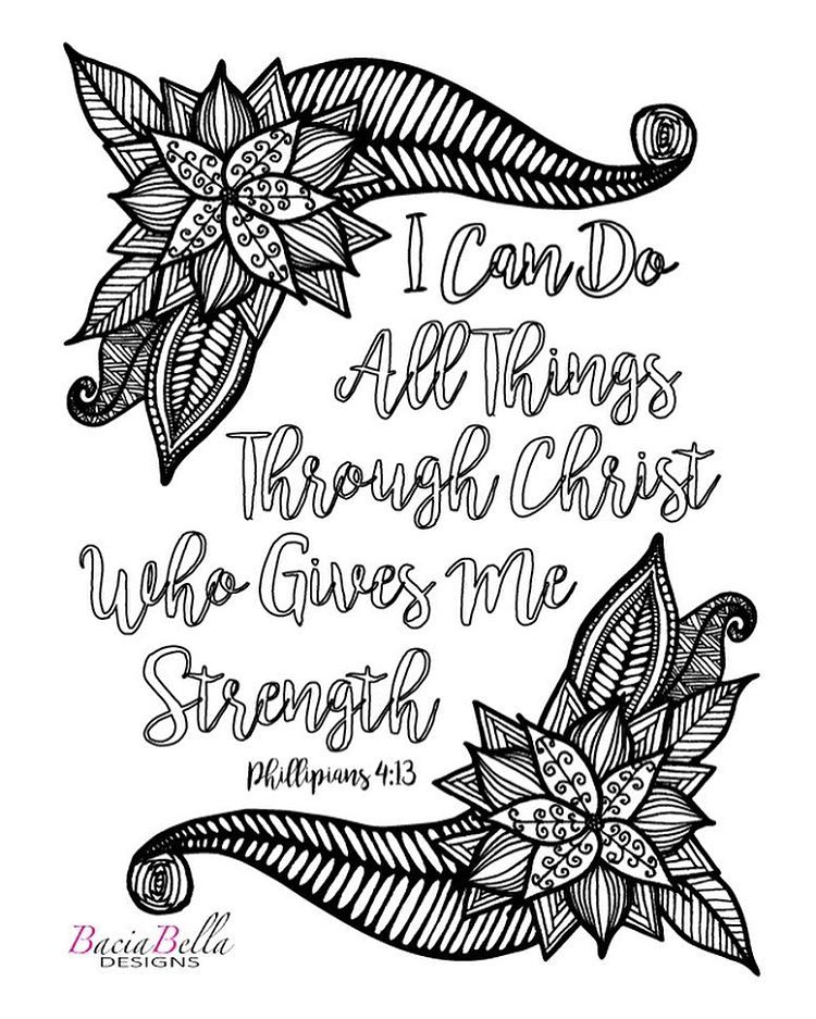 Philippians 4 13 Christian Coloring Coloring Pages Adult