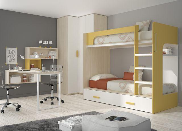 Kids touch 63 litera mas armario juvenil literas y cama - Habitacion con litera ...