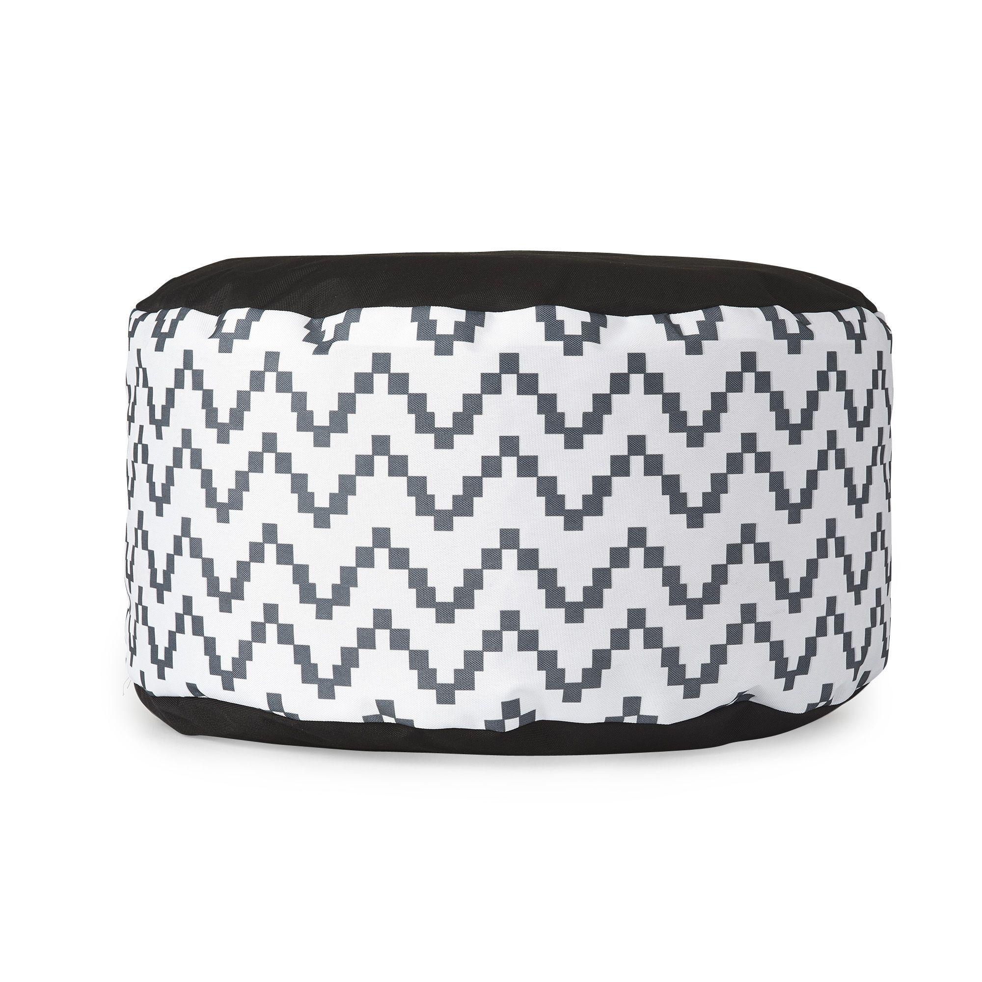pouf noir et blanc 50x25cm noir blanc ikat tex les poufs fauteuils et poufs canap s et. Black Bedroom Furniture Sets. Home Design Ideas