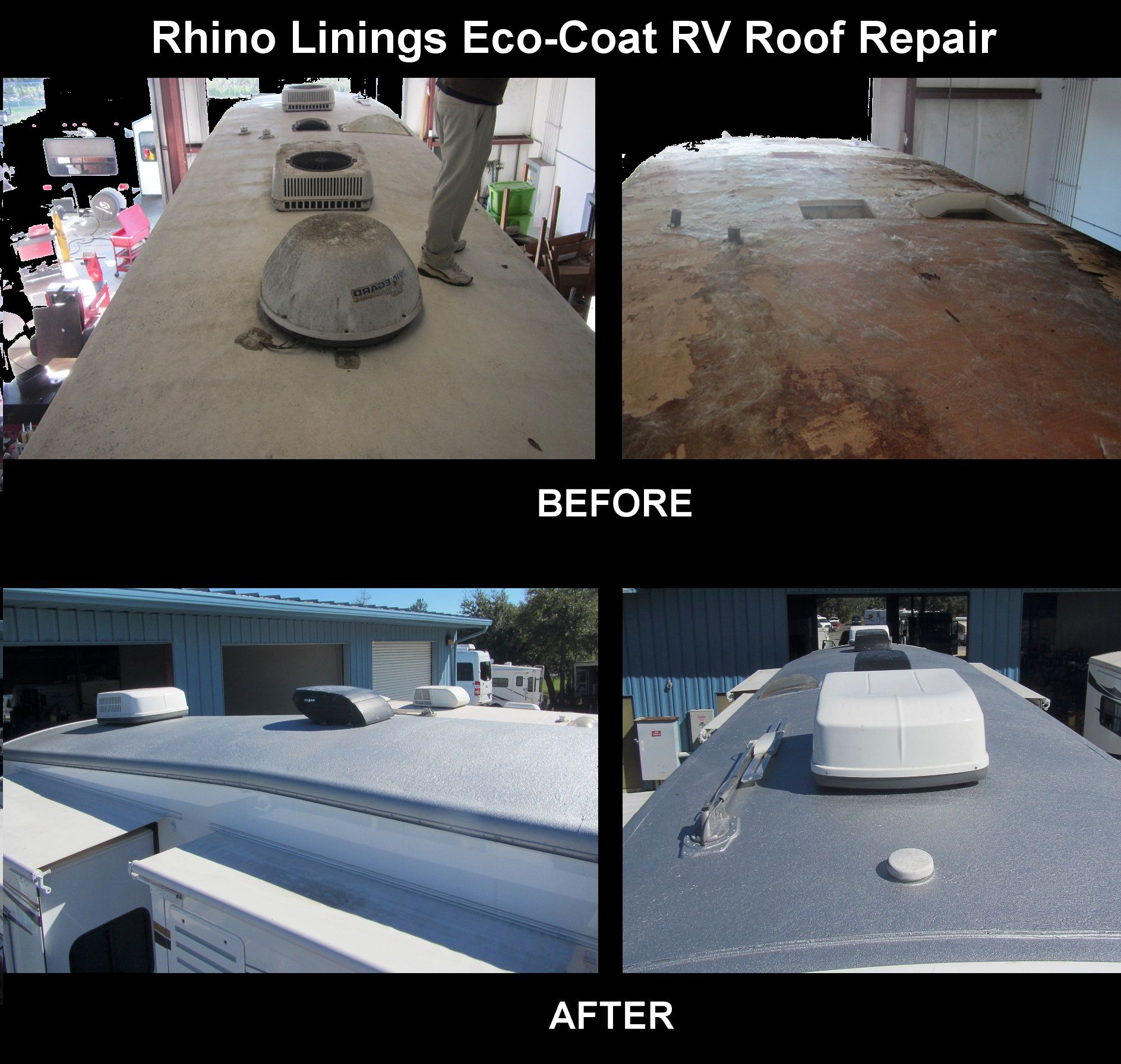 before and after photos of the rhino linings eco coat permanent rv