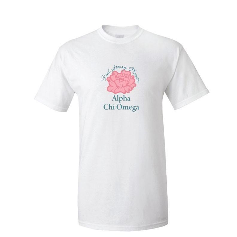 Alpha Chi Omega - Real. Strong. Women. Carnation T-Shirt