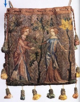 French purse 1340 [Staniland]. Polychrome silk split-stitch on linen. Background in laid gold-work. 16cmX14 cm.