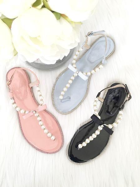 f5836f1d5bc266 Women Flat Sandals - T-Strap Light Blue Pearl Sandals With Rhinestones –  Kailee P