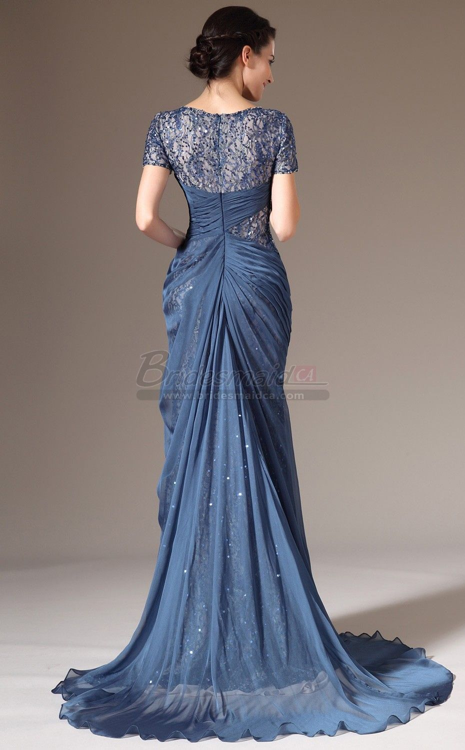 Ink Blue Long Chiffon and Lace Empire Waist Mermaid Bridesmaid Dress ...