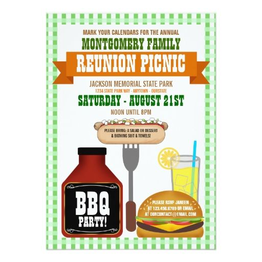 Family Reunion Picnic Invitations | Picnic Invitations, Family