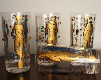 c84192a51cf4 Culver Glassware Mardi Gras 1960s Three (3) Rare Bar Glasses Gold ...