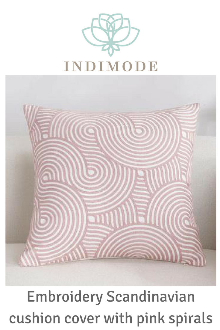 Scandinavian embroidery cushion cover pink spiral in