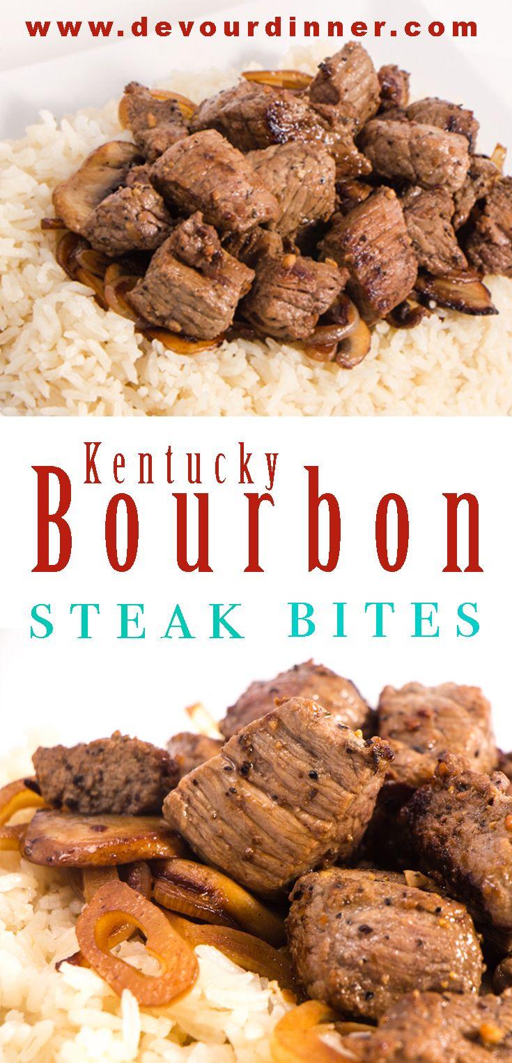 Kentucky Bourbon Steak Bites - Devour Dinner Packed full of Rich Kentucky Bourbon flavor in these delicious Steak Bites.  Quick and easy recipe for al...