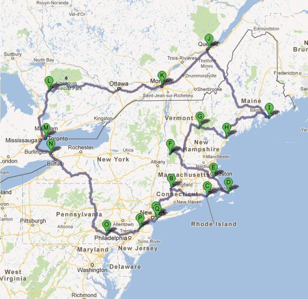 The Most Beautiful Roadtrip Northeast USA Canada Road Trips - Us road atlas map