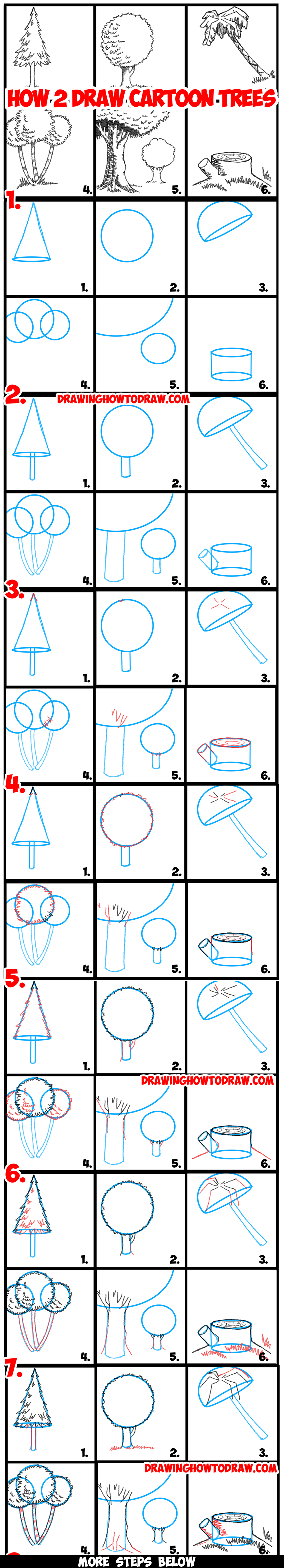 guide to drawing cartoon trees with basic geometric shapes step