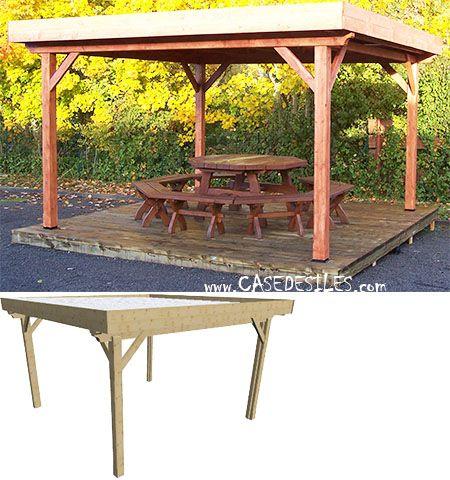 Abri terrasse bois à Petit Prix  Abri terrasse bois toit plat 12mc