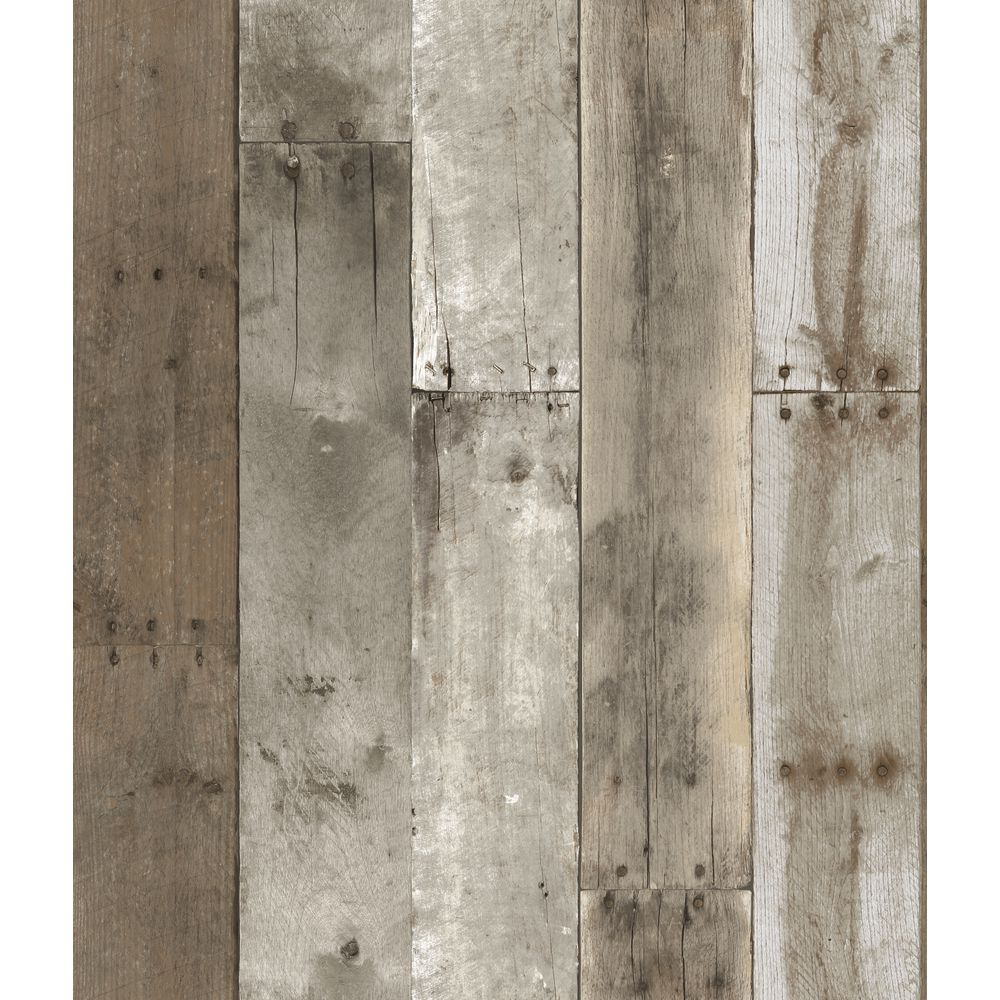 Removable Vinyl Wallpaper Weathered Wood Wood Wallpaper Repurposed Wood Peelable Wallpaper