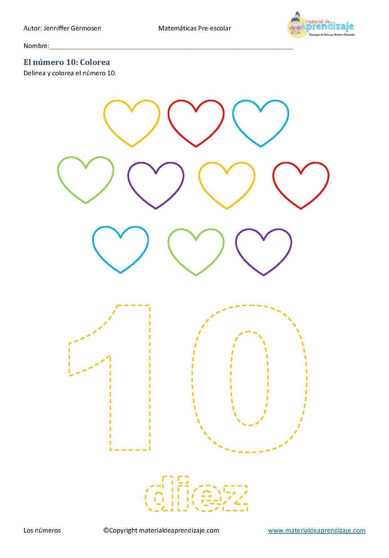 Fichas de aprendizaje de los números del 1 al 10 para preescolares ...