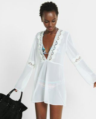 20a3e2971f1bf sheer lace trim cover up from EXPRESS | Swim Suits | Pinterest ...