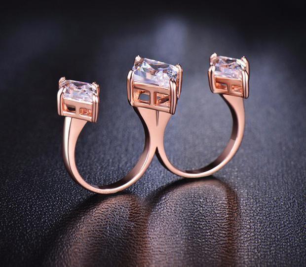 Chic Open Multi Finger Triple Rhombus Cubic Zircon Gem Ring