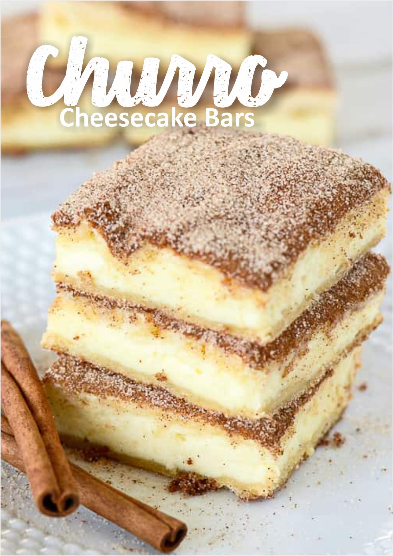 Churro Cheesecake Bars Recipes #churrocheesecake