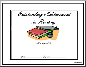 Certificate Outstanding Achievement Award  Reading  Sample