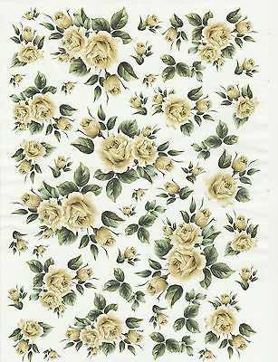 Ricepaper for Decoupage Decopatch Scrapbook Craft Sheet Vintage Yellow Roses