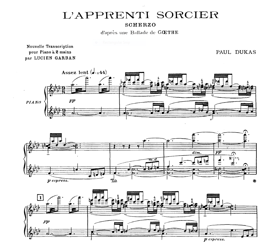 The Sorcerer's Apprentice by Paul Dukas, arranged for 2