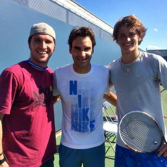Roger And Zverev Brothers Tennis Professional Roger Federer Alexander Zverev