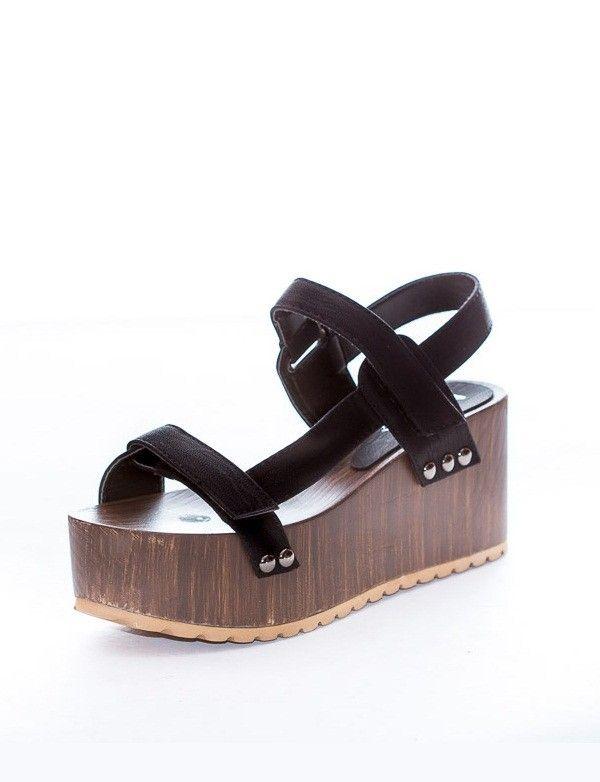 7f3e36f4fc4 Sandalia Plataforma Madera - Negro Zapatos Primavera