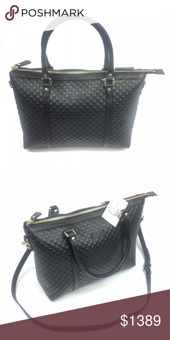 e8933e92ad79 Gucci #449656 Micro-GG Black Leather Tote w/Strap - Black GG Micro ...