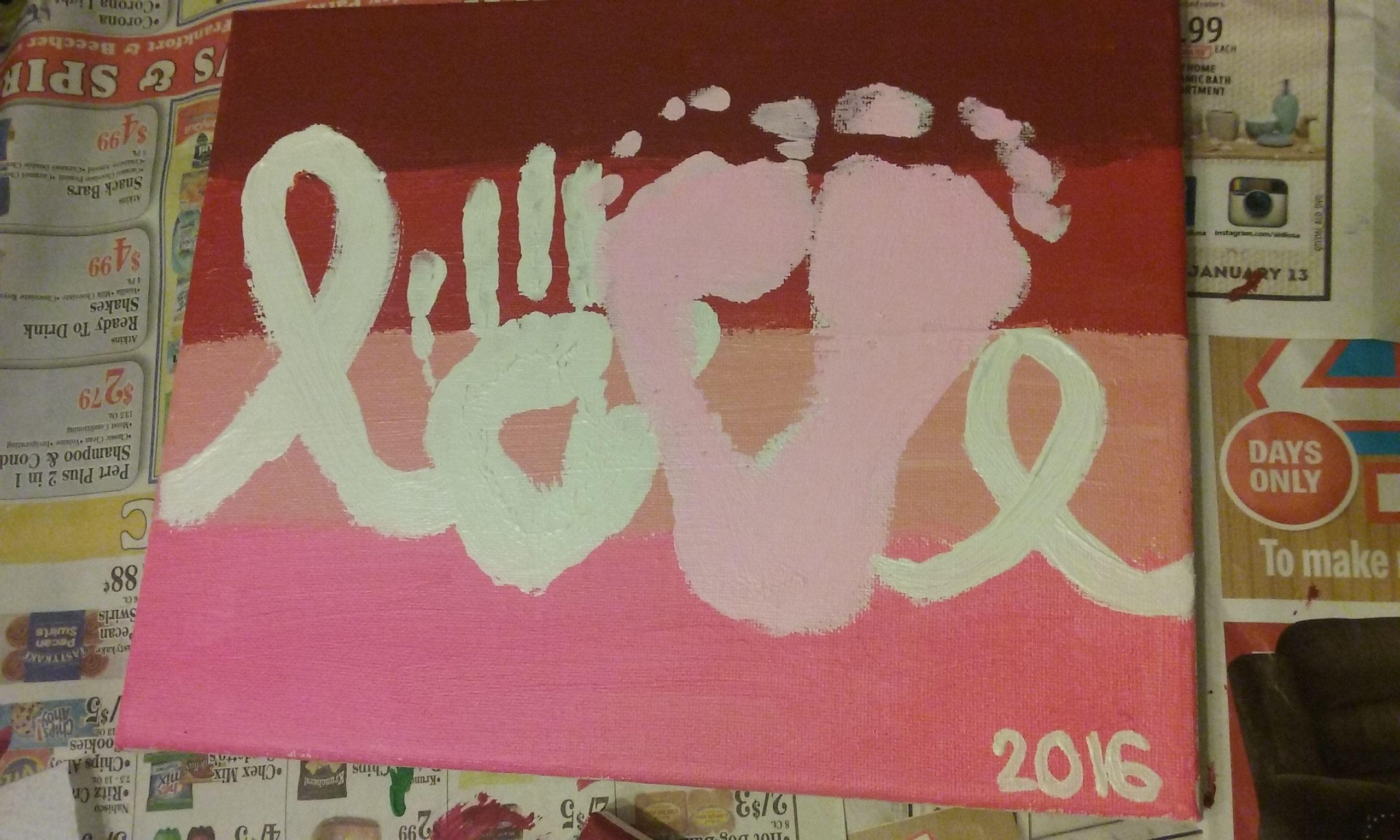 Gwen's hand and feet - Valentine's love craft on canvas