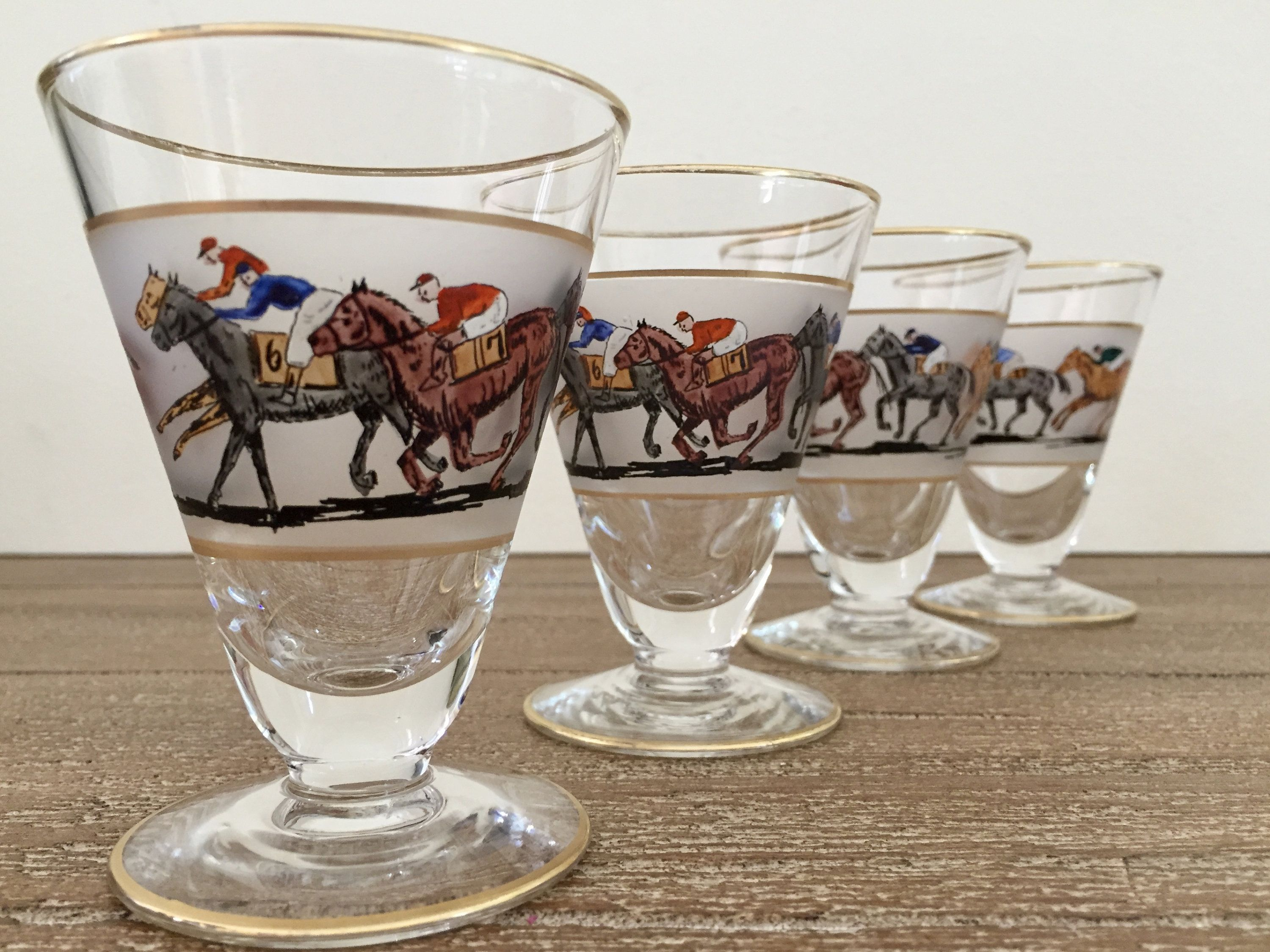 Hand-Painted Horse Racing Martini Glass 10 oz