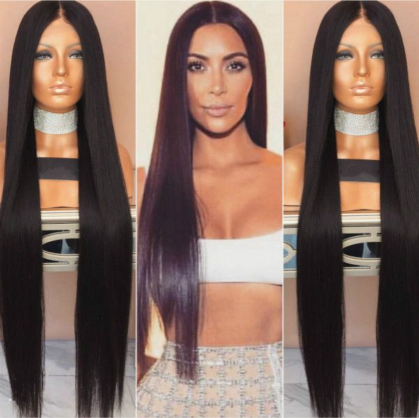 Straight long hairstyles wigs for black women human hair wigs lace ...