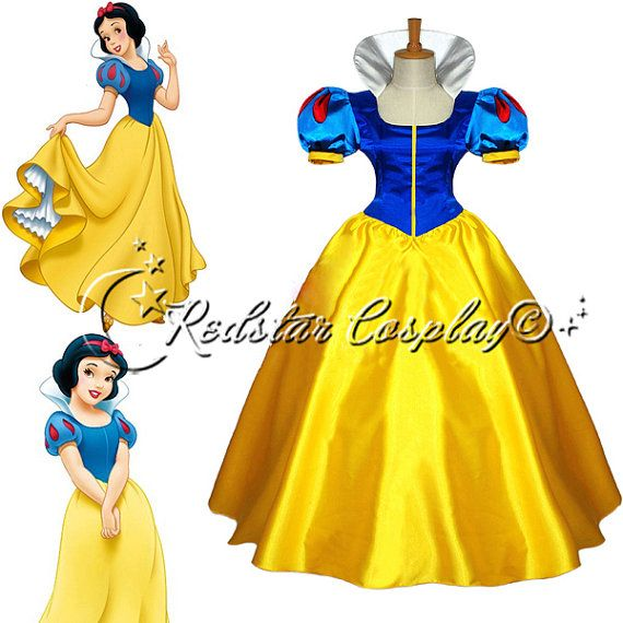 Adult Snow White Princess Cosplay Costume Halloween Fairytale Party Ball Gown