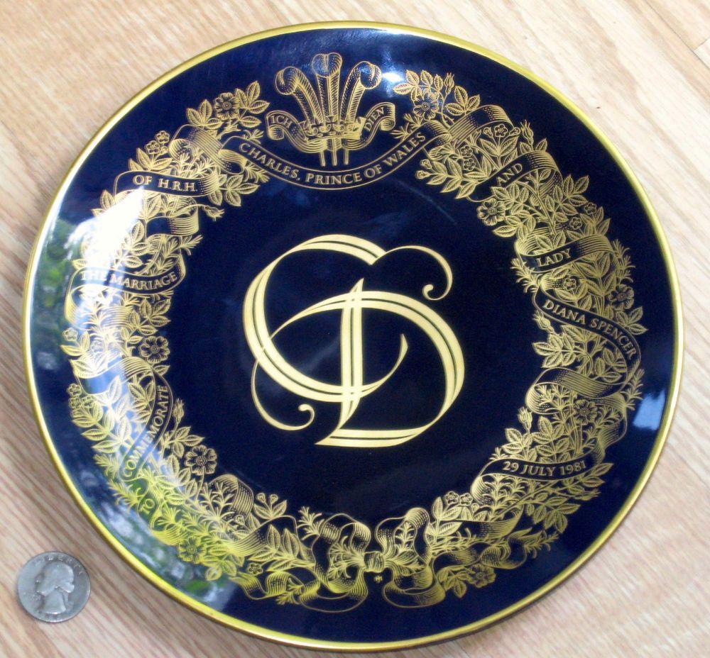 ROYAL WEDDING porcelain plate CHARLES & DIANA cobalt blue