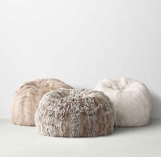 a15dfa6f1c5b RH TEEN s Luxe Faux Fur Bean Bag - Snow Lynx Luxuriant faux fur replicates  the supreme softness and wild beauty of a natural pelt.