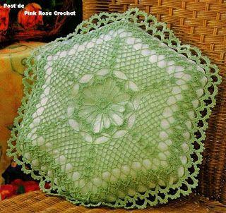 PINK ROSE CROCHET /: Almofada Hexágono Verde - Crochê