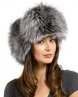 7650f8a52d8 Ladies Silver Fox Fur   Black Leather Russian Milatry Hat