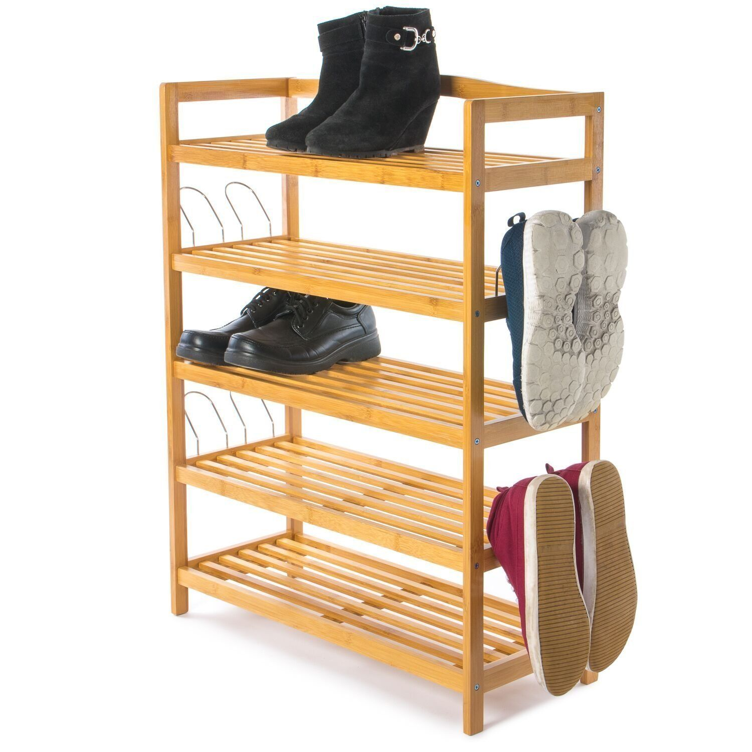 Hallway storage stand  Home Treats Bamboo Shoe Rack  Tier Shoe Storage Stand With Side