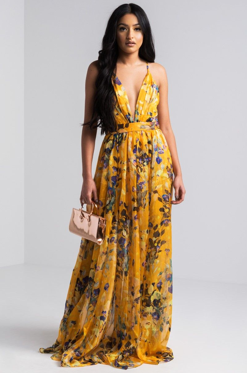 Front View Cant Let Go Floral Maxi Dress in Mustard  f9772c66a
