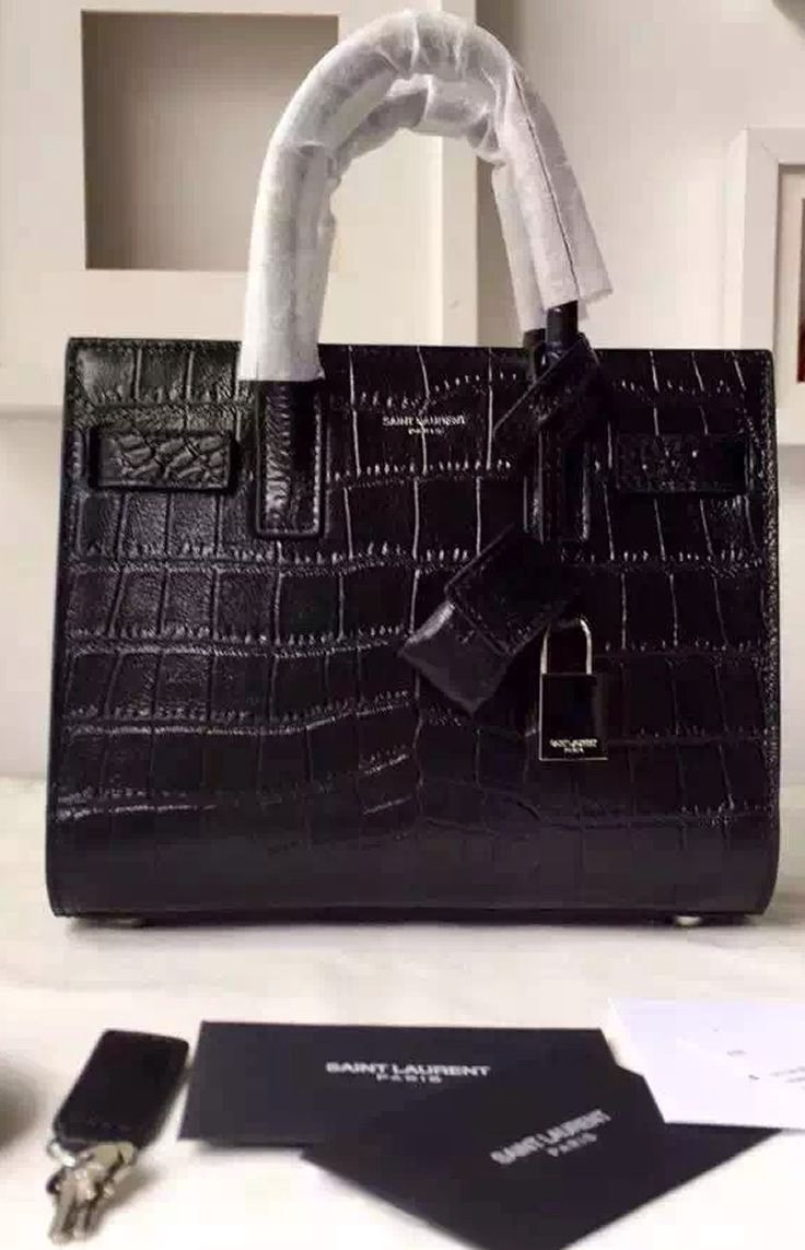 adc2b817aa Saint Laurent Classic Nano SAC DE JOUR Bag in Black Crocodile Embossed  Leather sale at USD