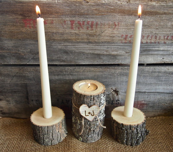 Unity Candle Set For Weddings Candle Holders Natural Rustic Etsy Unity Candle Holder Candle Holders Wedding Rustic Unity Candle Holder