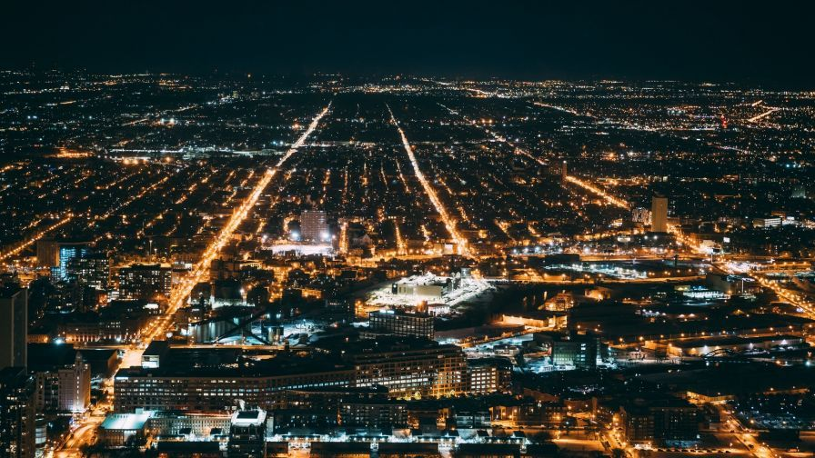Chicago Night Lights Hd Wallpaper Wallpapers Net Night City Chicago At Night Aerial View