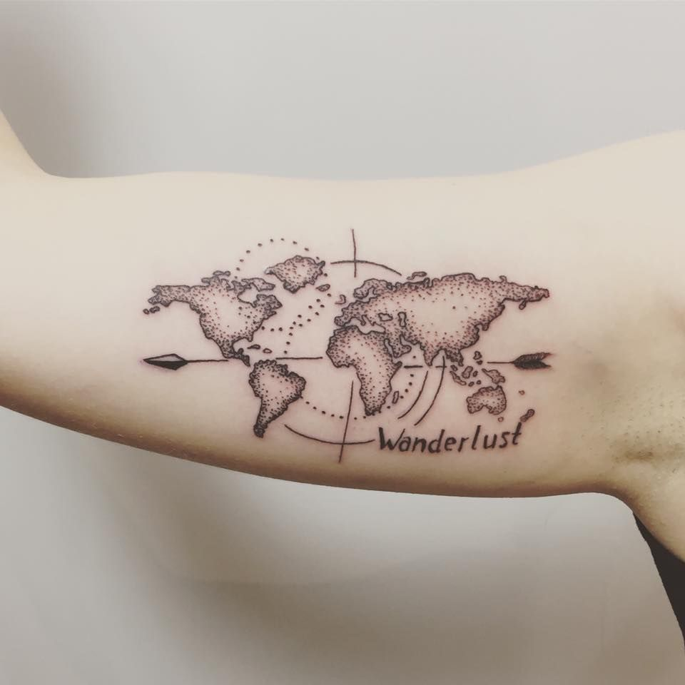 map of the world compass tattoo on arm in black and grey ...