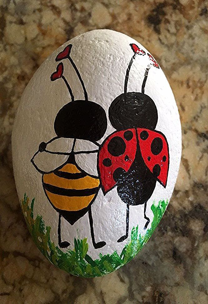 Excited to share this item from my #etsy shop: Bee my Ladybug #valentinesday #rockpaperweight #paintedgardenrocks #paintedrocks