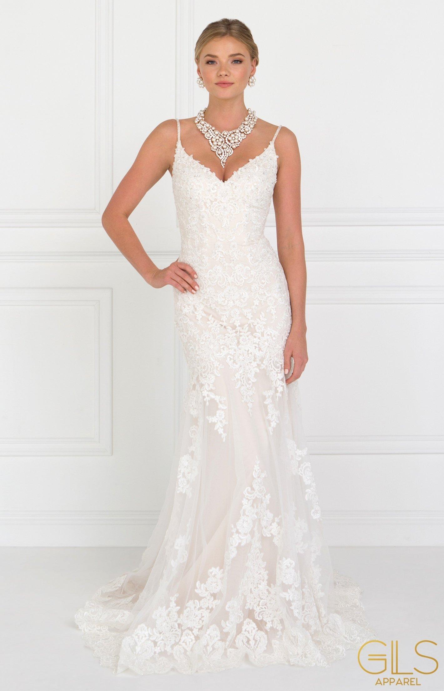 Long Lace Ivory V Neck Wedding Dress by Elizabeth K   Trumpet ...