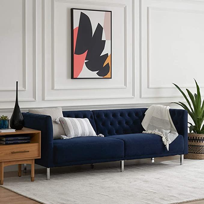Mopio Sofa Aiden Classic Contemporary Couch For Living Room Tufted Sofa Design Includes S Sofa Design Blue Sofa Living Blue Furniture Living Room