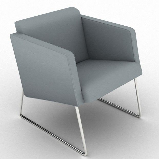 Larry from Citrus Seating is a small, comfortable, informal meeting or executive break-out chair. It features an angled and webbed seat and the frame is finished in polished stainless steel.