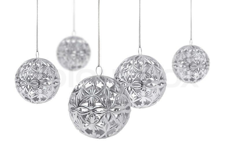 Shiny Silver Christmas Ball Hanging Isolated On White Background Stock Photo Colourbox Silver Christmas Christmas Balls White Christmas Ornaments