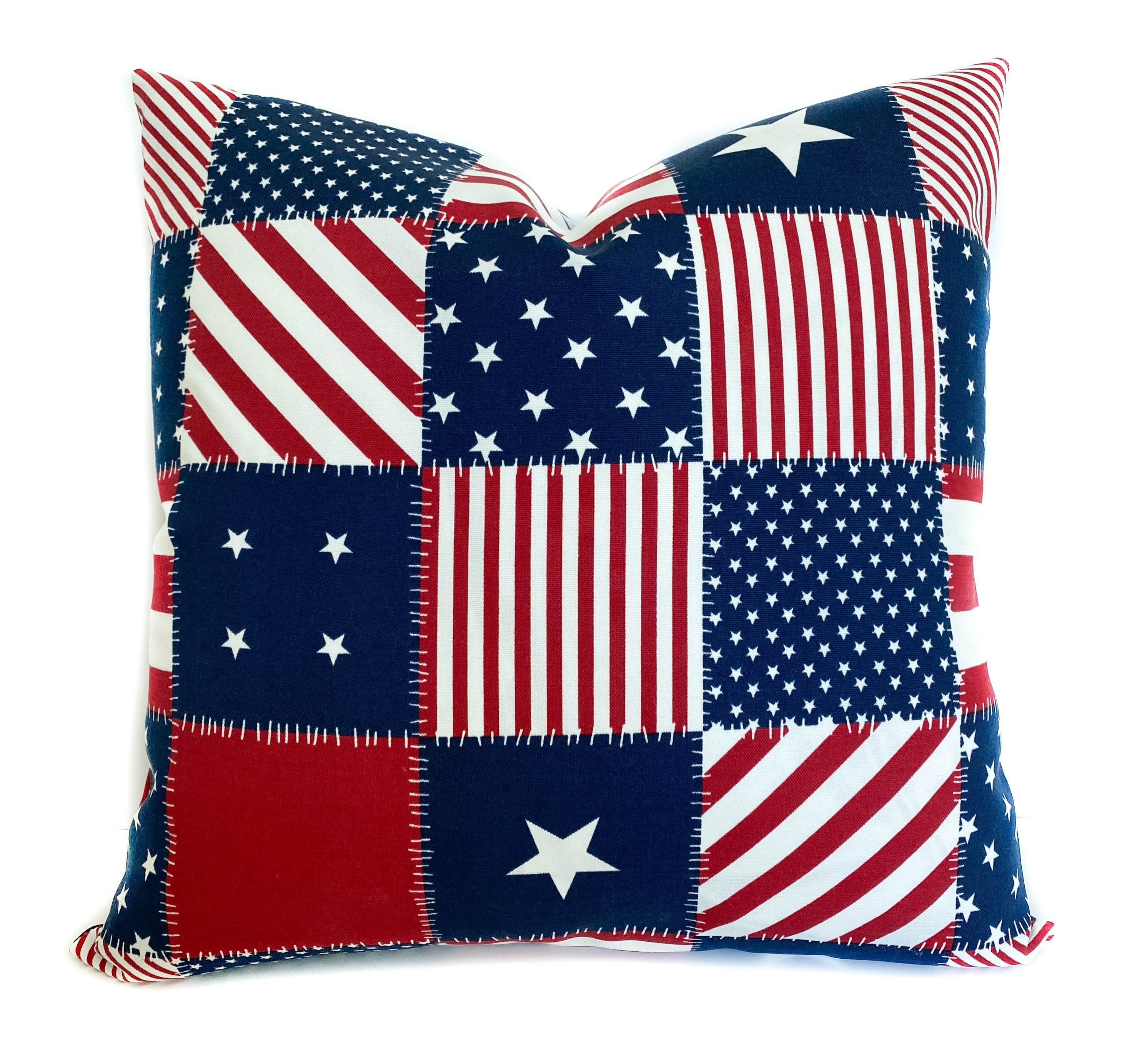 Patriotic outdoor throw pillow cover