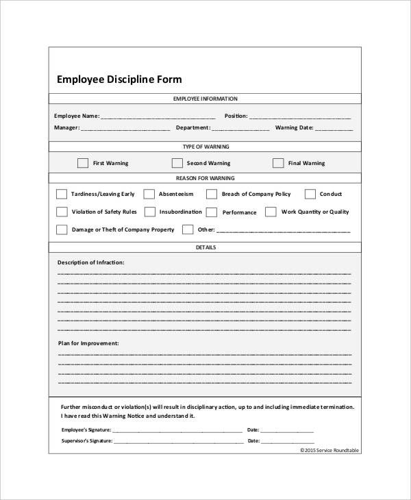 Employee Discipline Form Template Template Pinterest Template - Service Forms In Pdf