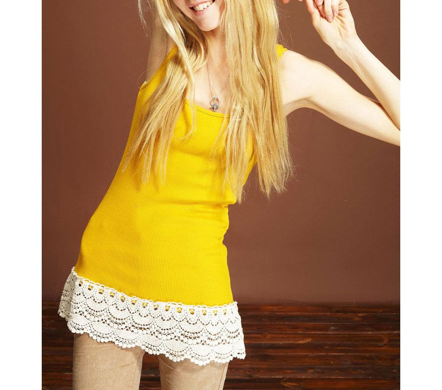 Spring Summer Stretchy Yellow Tank Top Spaghetti Strap with Lace Sides, Summer Blouse, Long Tank Top, Underskirt. $18.00, via Etsy.