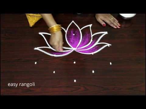 Easy color shangu kolam with lotus simple rangoli latest small muggulu designs by suneetha youtube also rh pinterest